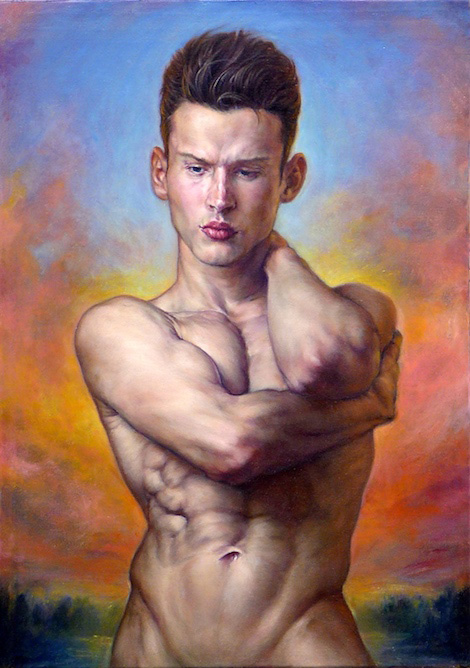 contemporary oil painting of male model by Julian Hsiung - All by Myself - contemporary portrait realisium art