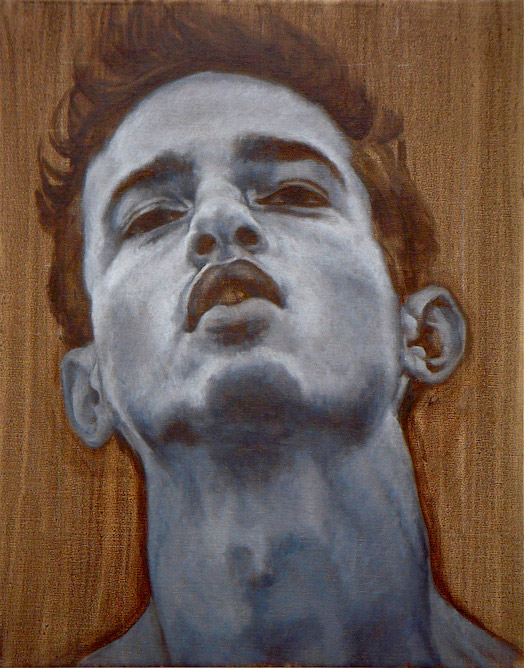 contemporary oil painting of male model by Julian Hsiung - HeadShots - Curley - in Grisaille - contemporary portrait realisium art