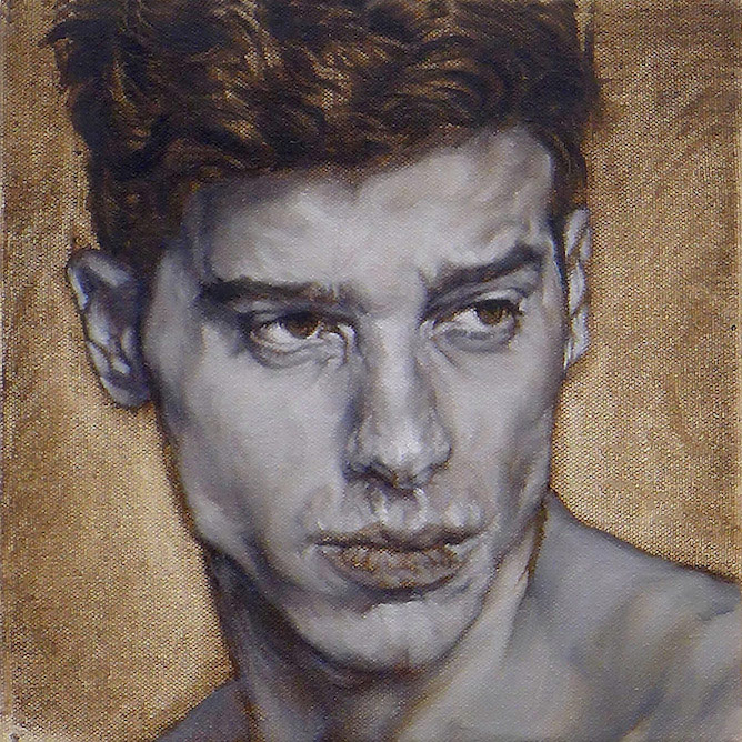 contemporary oil painting of male model by Julian Hsiung - HeadShots - Marc - in Grisaille - contemporary portrait realisium art