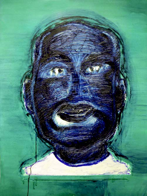 Blue Face on Glossy Green Ground