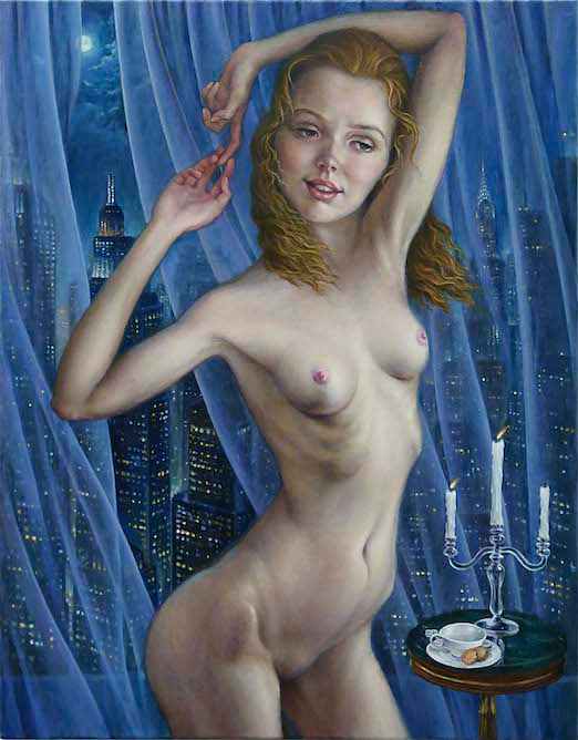 contemporary oil painting of Nude female model by Julian Hsiung - Priscilla - contemporary portrait realisium art