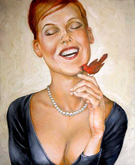 contemporary oil & acrylic painting of female model by Julian Hsiung - Laughing Girl & Red Bird - contemporary portrait realisium art