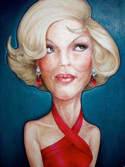 contemporary oil & acrylic painting of female model by Julian Hsiung - Ruby Earrings - contemporary portrait realisium art
