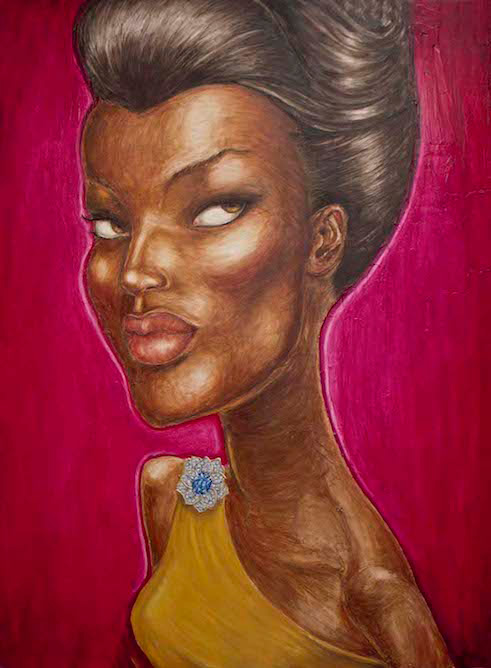 contemporary oil & acrylic painting of female model by Julian Hsiung - Sapphire Pin - contemporary portrait realisium art