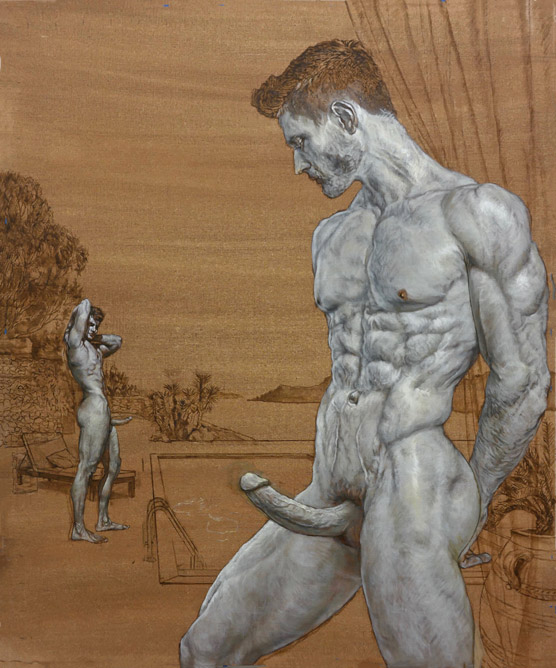 Male Nude-Vacationers in Grisaille